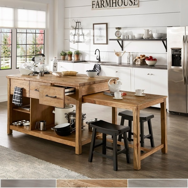 Open Kitchen With Bar Counter Seating And Chefs At Work: Shop Tali Reclaimed Wood Extendable Kitchen Island By
