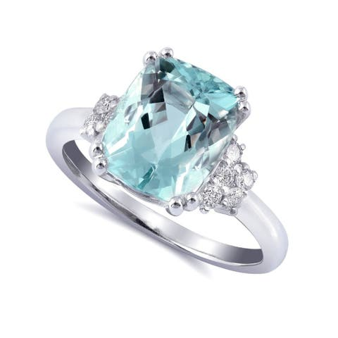 14K White Gold 3.67ct TGW Aquamarine and Diamond One-of-a-Kind Ring