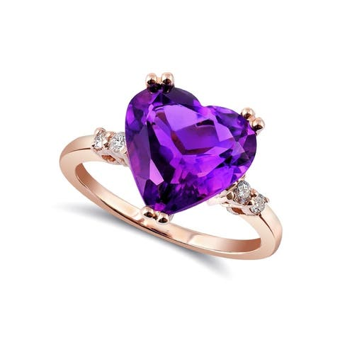 14K Rose Gold 3.97ct TGW Amethyst and Diamond One-of-a-Kind Ring