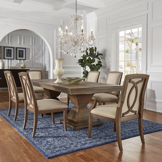 Monaco Scratch Resistant Extending 118-inch Rectangular Wood Dining Set with Chestnut Finish Dining Chairs by iNSPIRE Q Artisan