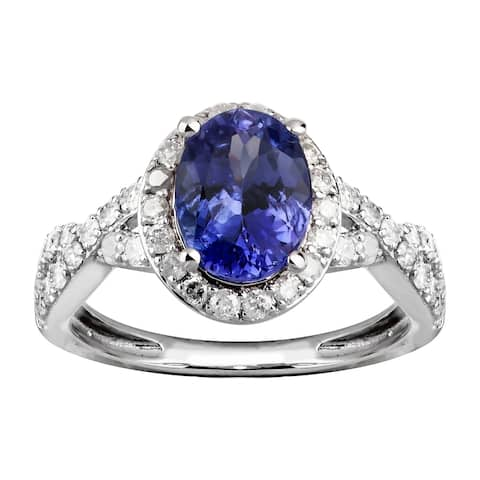 14K White Gold 1.75 carat TW Genuine Tanzanite and Diamond Halo Ring