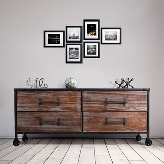 Kent Industrial Silver/Rustic Pine Wood Four-drawer Dresser