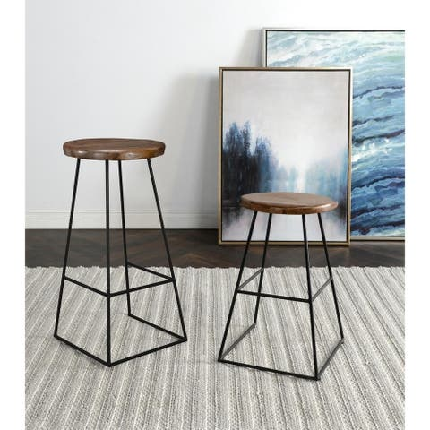 Carbon Loft Shiller Mango Wood and Iron Counter and Bar Stools