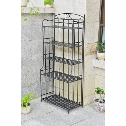 International Caravan Chatham 5-Tier Iron Folding Bakers Rack