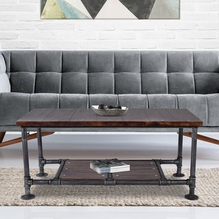Pomona Silver Brushed Grey Finish Steel and Rustic Pine Industrial Coffee Table