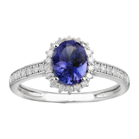 14K White Gold 1.61 carat TW Genuine Tanzanite and Diamond Halo Ring