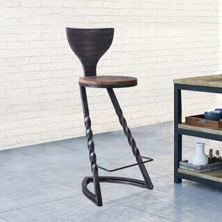 Renens Industrial Metal Barstool in Silver Brushed Gray with Rustic Brown Wood Seat