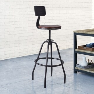 Douglas Industrial Metal Adjustable Barstool in Silver Brushed Gray with Rustic Pine Wood Seat