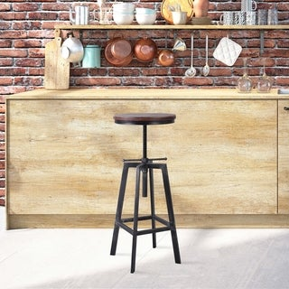 Plymouth Industrial Barstool in Silver Brushed Gray with Rustic Pine