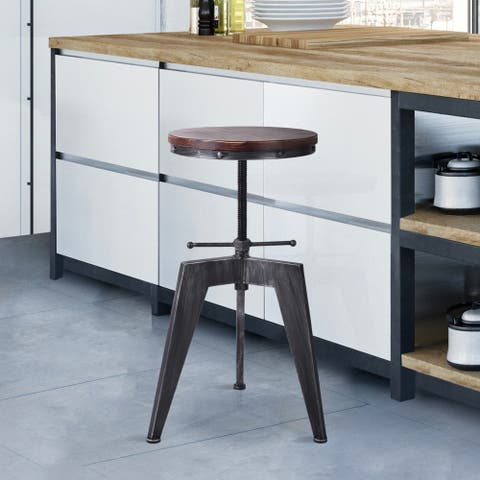 Albans Industrial Rustic Silver Brushed Grey Pine Wood/Metal Swivel Adjustable Backless Barstool