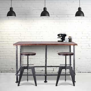 Maddox Industrial Metal Bar Table in Silver Brushed Gray with Rustic Pine Wood Top