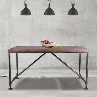 Clara Industrial Metal Dining Table in Silver Brushed Gray with Rustic Pine Wood Top - Grey/Walnut