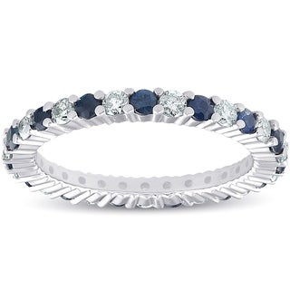 Bliss 14k White Gold 1 ct TW Blue Saspphire & Diamond Eternity Ring Womens Wedding Band