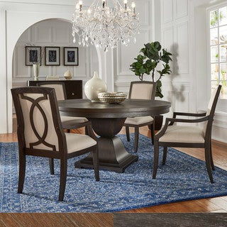 Monaco Scratch Resistant 60-inch Round Wood Dining Set with Upholstery Dining Chairs by iNSPIRE Q Artisan