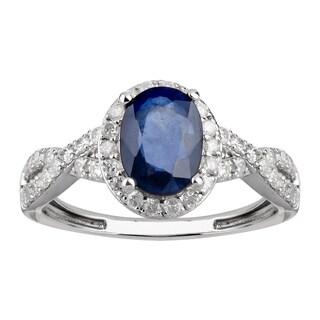 14K White Gold 1.75 carat TW Sapphire and Diamond Halo Ring