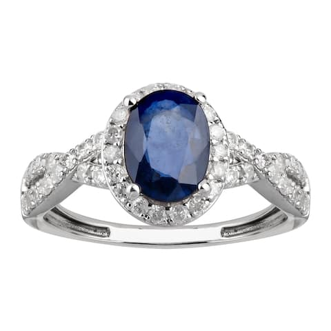 14K White Gold 1.75 carat TW Sapphire and Diamond Halo Ring