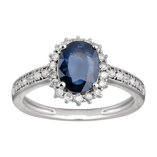 14K White Gold 1.58 carat TW Sapphire and Diamond Halo Engagement Ring