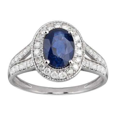 14K White Gold 1.81 carat TW Sapphire and Diamond Halo Engagement Ring