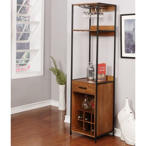 Furniture of America Soby Contemporary Solid Wood 3-shelf Wine Rack