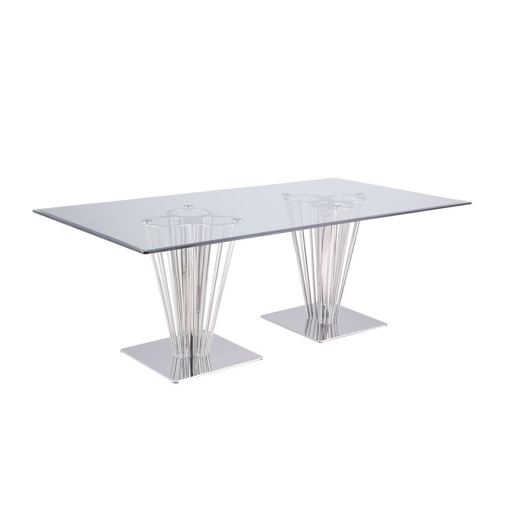 Somette Fiona Rectangular Dining Table With Double Pedestal Base Silver
