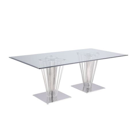 Somette Fiona Rectangular Dining Table with Double Pedestal Base - Silver