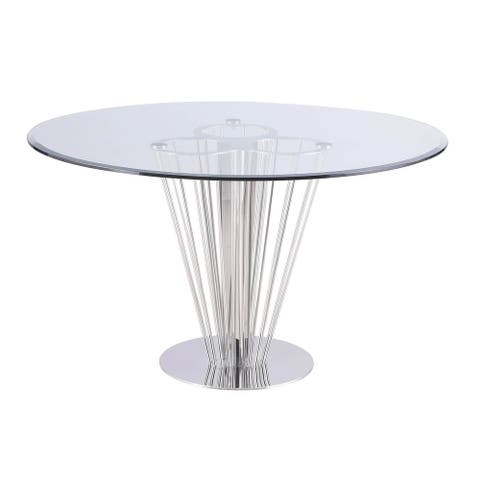 Somette Fiona Round Dining Table with Pedestal Base - Silver