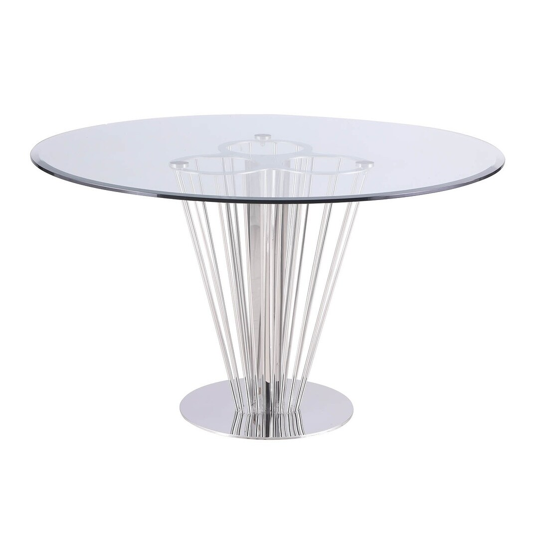 Somette Fiona Round Dining Table With Pedestal Base Silver