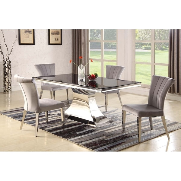 Somette Emilia 5-Piece Dining Set with Grey Chairs