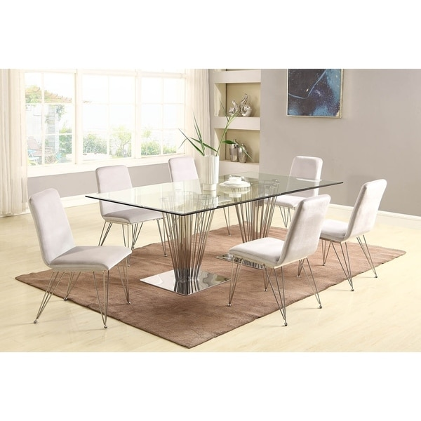Somette Fiona Rectangular 7-Piece Dining Set with Gray Side Chairs