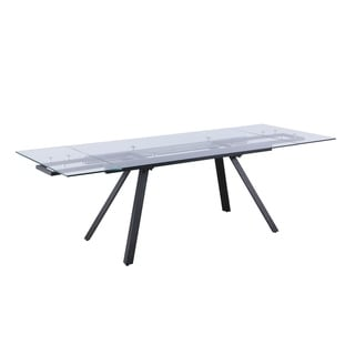 Somette Amanda Rectangular Dining Table with Black Pyramid Legs