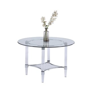 """Somette 48"""" Round Glass and Acrylic Dining Table - Clear"""