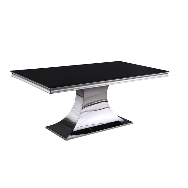 Somette Emilia Black Rectangular Dining Table with Concave Base