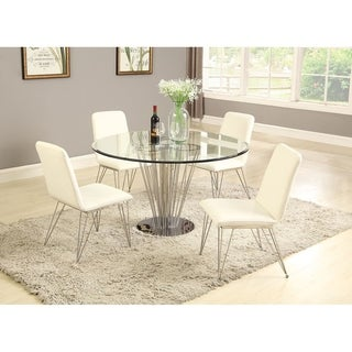Somette Fiona Round 5-Piece Dining Set with White Chairs