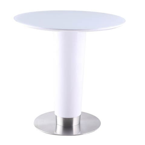 Somette Anjie White Round Dining Table