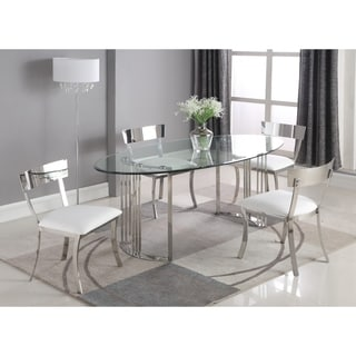 Somette Melanie Oval 5-Piece Dining Set with White Chairs