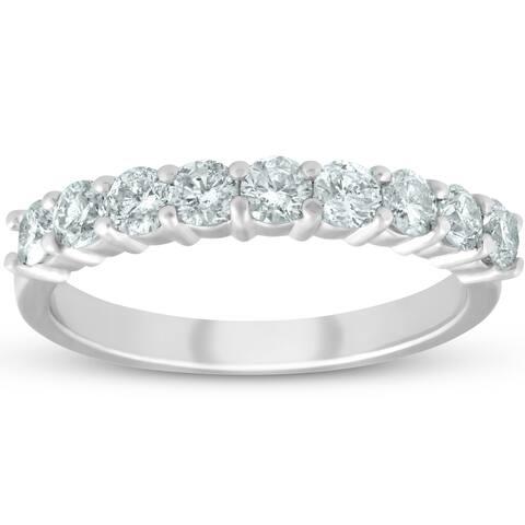 Pompeii3 Platinum 1/2 ct TDW Diamond Wedding Ring Half Eternity Anniversary Band