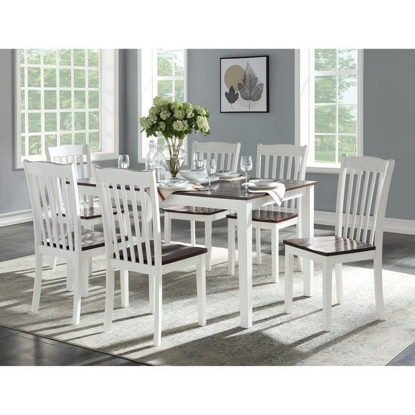 ACME Green Leigh 7-piece White and Walnut Dining Set