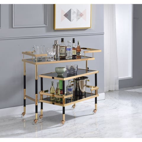 ACME Kina Serving Cart in Gold/Black and Smoky Glass