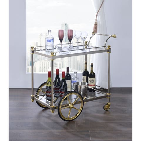 ACME Cyrus Serving Cart in Silver and Clear Glass