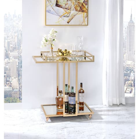 ACME Mendes Serving Cart in Gold and Mirror