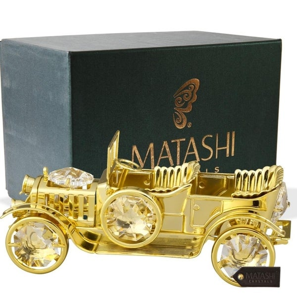 24K Gold Plated Crystal Studded Vintage Car Ornament by Matashi