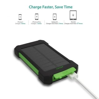4000mAh Solar Power Charger, Dual USB Portable Battery Charger with LED Light for iPhone, iPad, Android, Camera