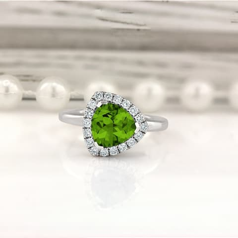 Auriya 2 1/8ct Fancy Trillion Cut Peridot Gem and 1/4cttw Halo Diamond Engagement Ring 14kt Gold
