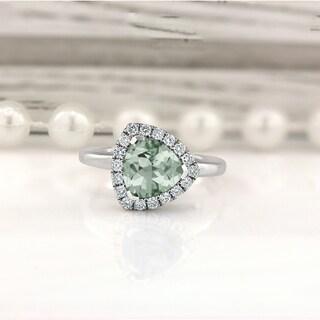 14K Gold 2 1/8ct Fancy Trillion-Cut Green Amethyst and 1/4ct TDW Diamond Halo Engagement Ring by Auriya