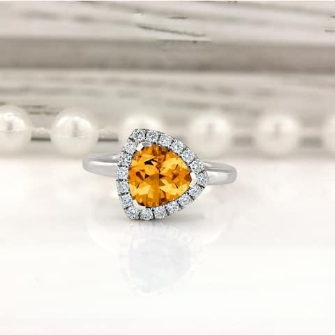 Auriya 2 1/8ct Trillion-cut Citrine and Halo Diamond Engagement Ring 1/4ctw 14k Gold
