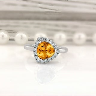 14k Gold Fancy 2 1/8ct Citrine and 1/4ct TDW Diamond Halo Engagement Ring by Auriya