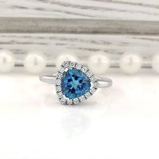14KT Fancy 2 1/8ct Trillion-Cut Swiss Blue Topaz 1/4ct TDW Diamond Halo Engagement Ring