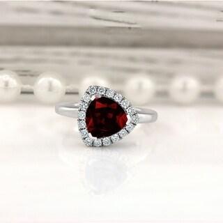 14k Gold Fancy Trillion-Cut 2 1/8ct Garnet and 1/4ct TDW Diamond Halo Engagement Ring by Auriya