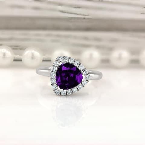 Auriya 1 1/4ct Trillion-cut Purple Amethyst Halo Diamond Engagement Ring 1/4ctw 14k Gold