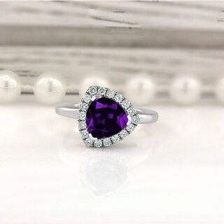 14K Gold 2 1/8ct Fancy Trillion-Cut Purple Amethyst and 1/4ct TDW Diamond Halo Engagement Ring by Auriya